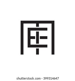 letter M and E monogram square shape logo black