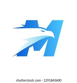 Letter M Eagle Head Logo
