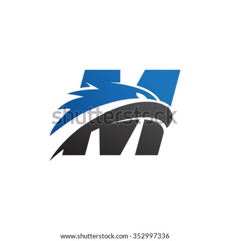 Letter M Eagle Head Logo Blue Stock Vector Royalty Free 352997336