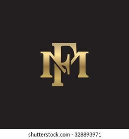 letter M and F monogram golden logo