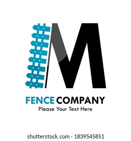 Letter m with fence logo template illustration. suitable for identity, company, web, industrial.