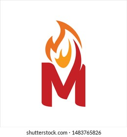 Letter M and Fire Flame. Vector Icon and Logo.