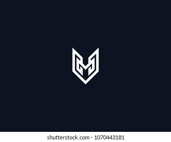 letter M geometric logo template element.