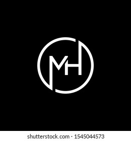LETTER M AND H LOGO DESIGN. MODERN STYLE . CIRCLE LOGO IN VECTOR ILLUSTRATION. BLACK AND WHITE COLOR