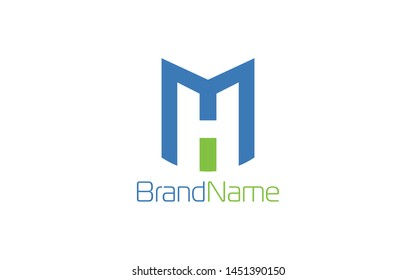 Letter M and H logo with solid blue and green color