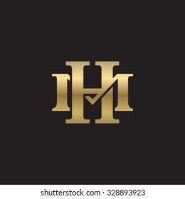 letter M and H monogram golden logo