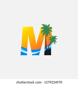 Letter M- Hawaii Palm Beach Logo icon.  Nature logo design concept palm tree and  sea wave  for initial letter M, surfing shop, sport, Tour and Travel.
