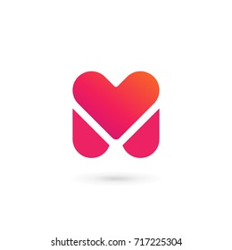 Letter M heart logo icon design template elements