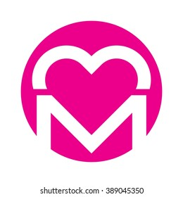 M Letter Heart Images, Stock Photos & Vectors | Shutterstock