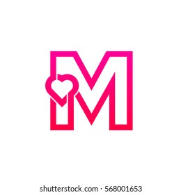 Letter M heart logo,Pink color,Valentine Day, Love Concept Logotype