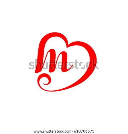 Letter M Heart Wedding Logo Stock Vector Royalty Free 610706573