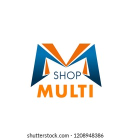 Letter M icon for multi brand shop or trading mall and supermarket design. Vector letter M symbol for sale discount in online shopping and retail shop or premium brand outlet center