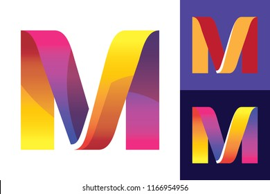 Letter M Initial vector Logo design on different backgrounds. Good for WEB and printing, EPS 8, CMYK.