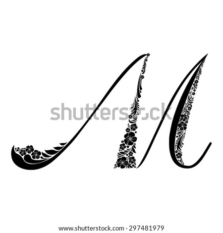 Letter M Isolated On White Romantic Stock Vector Royalty Free