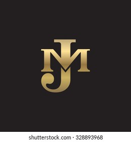 letter M and J monogram golden logo