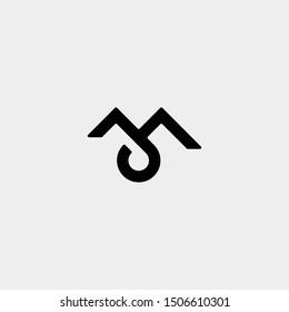 Letter M JM JA Monogram Logo Design Minimal Icon