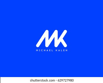 Letter M and K logo or MK initials two modern monogram symbol concept. Creative Line sign design. Graphic Alphabet Symbol for Corporate Business Identity. Vector illustration