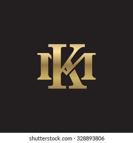 letter M and K monogram golden logo