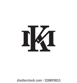 letter M and K monogram logo