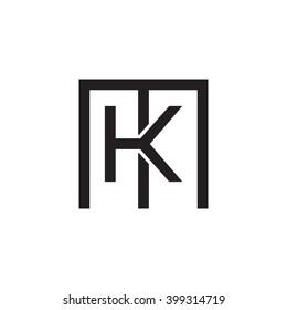 letter M and K monogram square shape logo black