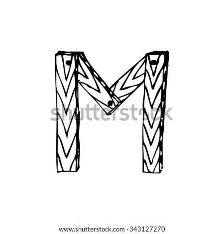 Letter M Latin Alphabet Form Boards Stock Vector Royalty Free