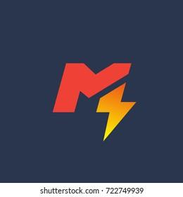 Letter M lightning logo icon design template elements