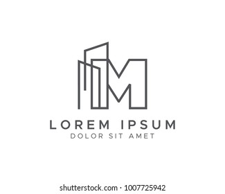 Letter M Line Building Logo
