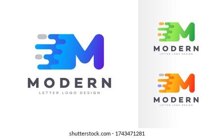 Letter M liquid abstract geometric logo design illustration. Fluid gradient elements. Futuristic trendy dynamic company business logo design. Vector EPS template.