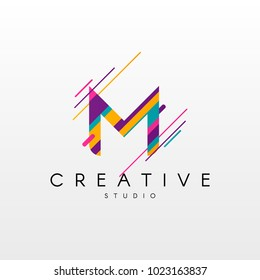Letter M Logo. Abstract M letter design, made of various geometric shapes in color.