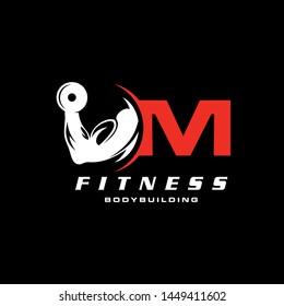 Letter M Logo With barbell. Fitness Gym logo. Vector logo design