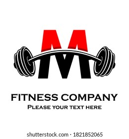Letter m Logo With barbell template illustration. Fitness Gym logo. fitness vector logo design for gym and fitness.