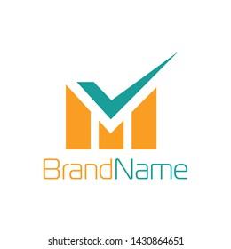 Letter M Logo With Checkmark Symbol