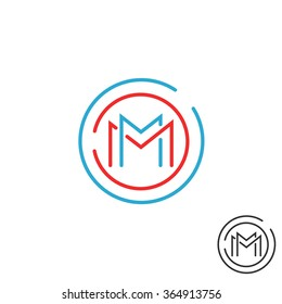 Letter M logo circle frame monogram, mockup line round border design element, red and blue graphic tech geometric shape.