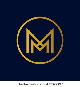 Letter M logo in the circle. MM monogram.
