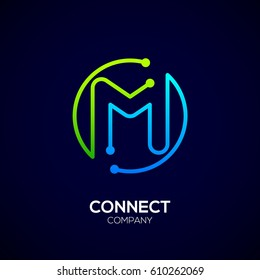 Letter M logo, Circle shape symbol, green and blue color, Technology and digital abstract dot connection