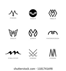 Letter M Logo collection. Vector Abstract geometric M templates shapes for monogram, logotype design.
