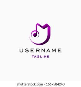 letter M logo design inspiration . modern music logo design inspiration . minimalist music logo design template . simple music icon