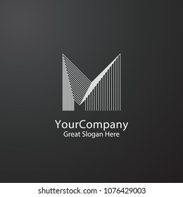 Letter M logo design. Luxury concept for architecture corporate business or urban city skyline Real Estate. Linear creative monochrome monogram outline symbol. Vector Illustration