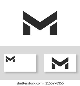 Letter M logo design template with business card.  Vector