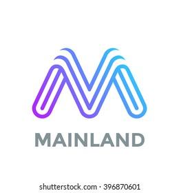Letter M Logo design vector template. Font Lines Logotype