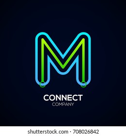 Letter M Logo Design,Circle shape, Link, Technology and digital, connection vector logotype
