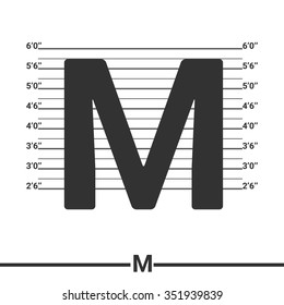 Letter M logo icon design . Concept white police lineup or mugshot vector background