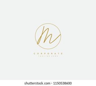 Letter M Logo Manual Elegant Minimalist Signature Logotype