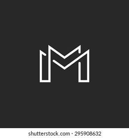 Letter M logo or MM initials two modern monogram symbol, mockup black and white business card emblem.