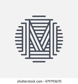 """Letter """"M"""" logo monogram. Creative line art design. Vector line logotype."""