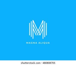 """Letter """"M"""" logo monogram. Creative line art design. Eps10 Vector line logotype."""