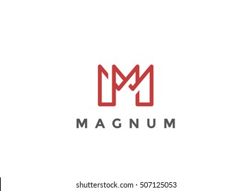 Letter M Logo Monogram design vector template Linear style. Corporate Business Luxury Fashion Logotype concept symbol.