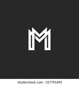 Letter M logo monogram, overlapping line mark MM initials combination symbol mockup, black and white typography design hipster element