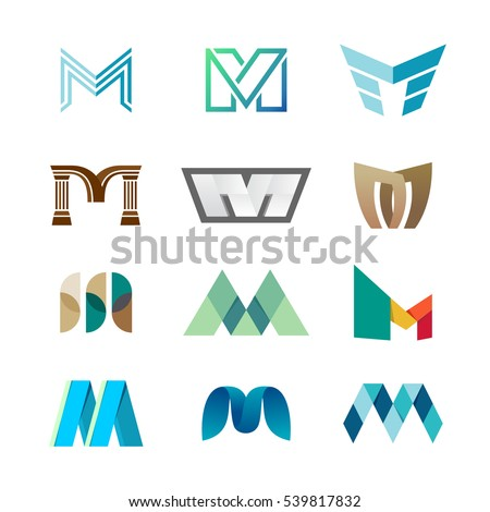 letter m logo set color icon のベクター画像素材 ロイヤリティフリー