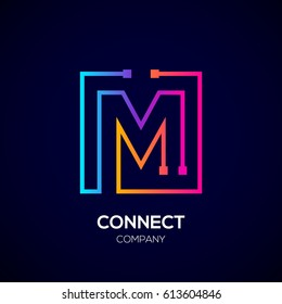 Letter M logo, Square shape, Colorful, Technology and digital abstract dot connection